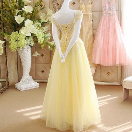 Pastel Yellow Cap Sleeves Sequined Tulle Prom Dresses 3e7f70b652da
