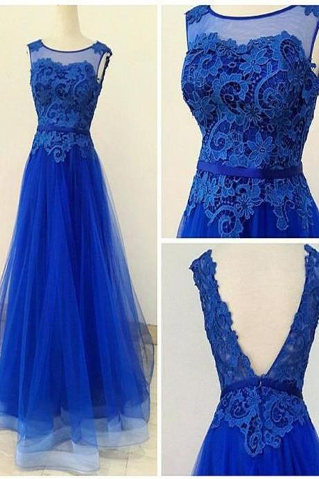A line V neck back lace tulle royal blue floor length evening dress